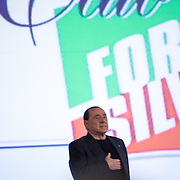 8 December, Rome: Berlusconi singing the national hymn at Forza Italia convention