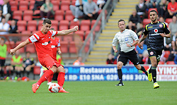Leyton Orient's Mathieu Baudry shoots from distance - photo mandatory by-line David Purday JMP- Tel: Mobile 07966 386802 23/08/14 - Leyton Orient v Walsall - SPORT - FOOTBALL - Sky Bet Leauge 1 - London -  Matchroom Stadium