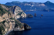 Lipari, looking towards Vulcano, Aeolian Islands, Sicily, Italy