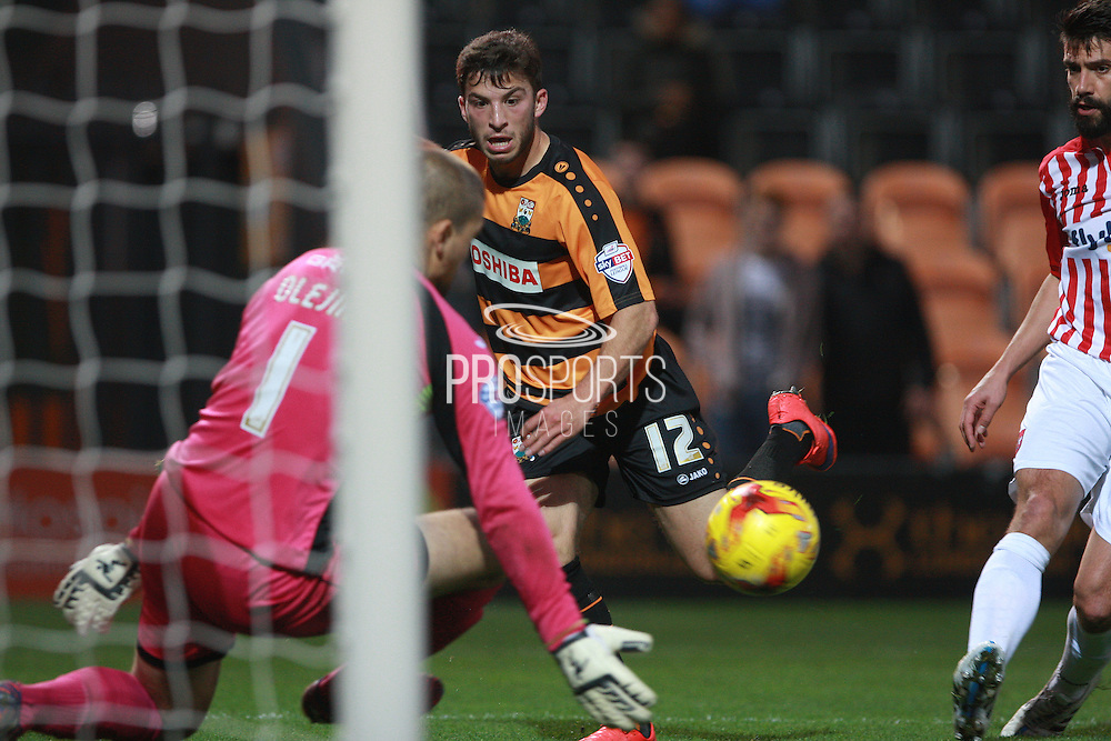 Barnet midfielder Luke Gambin shoots for goal during the Sky Bet League 2 match between Barnet and Exeter City at The Hive Stadium, London, England on 31 October 2015. Photo by Bennett Dean.