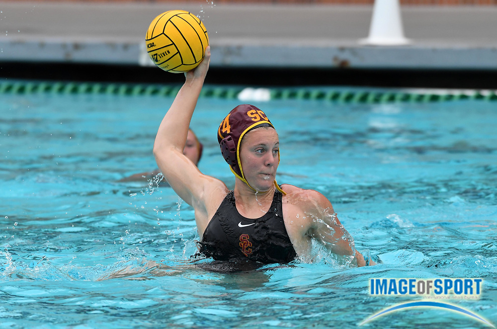 Southern California Trojans driver Elise Stein (14) against the Wagner Seahawks during an NCAA college women's water polo quarterfinal game in Los Angeles, Friday, May 11, 2018. USC defeated Wagner 12-5.  (Kirby Lee via AP)