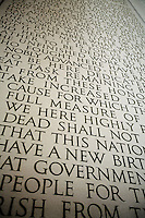 A close up of the Gettysburg Address engraved in stone on the wall at the Lincoln Memorial, in Washington, DC, on January 21, 2006.