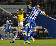 Brighton's Bruno Saltor wins the ball in the air during the Sky Bet Championship match between Brighton and Hove Albion and Derby County at the American Express Community Stadium, Brighton and Hove, England on 3 March 2015. Photo by Phil Duncan.
