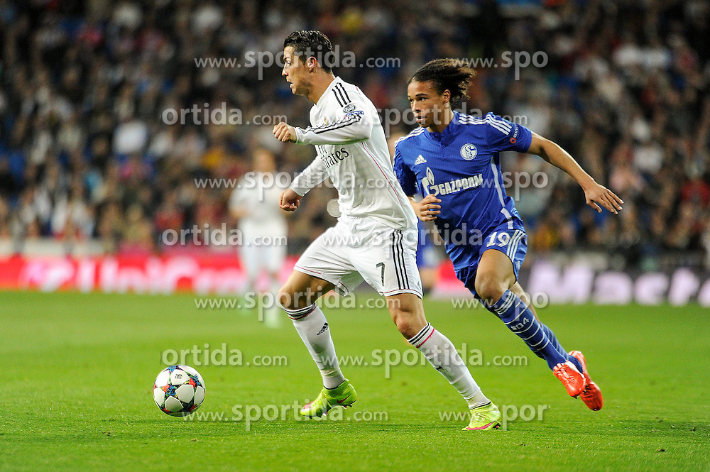 10.03.2015, Estadio Santiago Bernabeu, Madrid, ESP, UEFA CL, Real Madrid vs Schalke 04, Achtelfinal, R&uuml;ckspiel, im Bild Real Madrid&acute;s Cristiano Ronaldo and FC Shalke 04&acute;s Leroy Sane // during the UEFA Champions League Round of 16, 2nd Leg match between Real Madrid and Schakke 04 at the Estadio Santiago Bernabeu in Madrid, Spain on 2015/03/10. EXPA Pictures &copy; 2015, PhotoCredit: EXPA/ Alterphotos/ Luis Fernandez<br /> <br /> *****ATTENTION - OUT of ESP, SUI*****