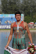 Beijing, CHINA, BUL JM1X, Aleksander ALEXSANDROV, Gold Medallist Men's single Scull, at  the  2007. FISA Junior World Rowing Championships,  Shunyi Water Sports Complex. 11/08/2007 [Photo, Peter Spurrier/Intersport-images]..... , Rowing Course, Shun Yi Water Complex, Beijing, CHINA,
