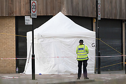 © Licensed to London News Pictures. 08/12/2017. London, UK. Police and a forensic tent at the scene of a fatal stabbing in Hackney, east London.  Emergency services attended an incident at the junction of Christie Road and Cassland Road at 4:45pm yesterday, following reports of a man suffering a stabbing injury. A man, believed to be in his late 20's died at the scene shortly afterwards. Photo credit: Vickie Flores/LNP
