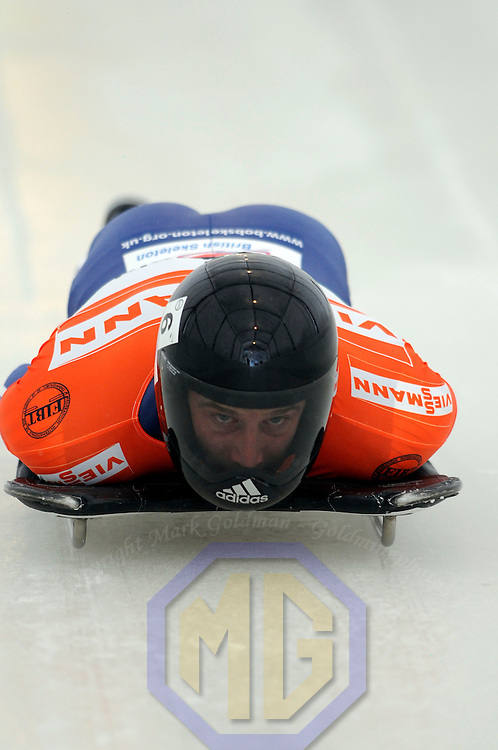 14 December 2007:  Adam Pengilly of Great Britain competes at the FIBT World Cup Men's skeleton competition on December 14, 2007 at the Olympic Sports Complex in Lake Placid, NY.  Pengilly finished in tenth place in the the race won by Eric Bernotas of the United States.