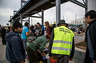 ATHENS, GREECE - FEBRUARY 04: A group of volunteers prepare food that will be given to refugees arriving at the Pireaus port by ferries from the islands on February 04, 2015 in Athens, Greece. Dozens of volunteers work every day at the Pireaus port in Athens preparing food, drinks and items as hats, blankets among many others that they will give to the thousands of refugees arriving by ferries fleet by private companies from the Greek islands to the Pireaus port. Photo © Omar Havana. All Rights Are Reserved