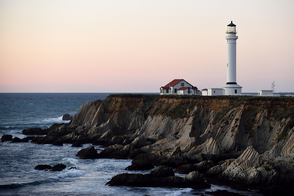 The Point Arena Lighthouse at sunset on November17'th, 2017. Point Arena Light is a lighthouse in Mendocino County, California, United States, two miles north of Point Arena, California. The movie Need for Speed was filmed in Point Arena Lighthouse in 2014. Photo by Gili Yaari