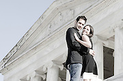 The columns at the Jefferson Memorial in Washington DC are the perfect backdrop for Engagement Portraits [Natural light, on location photographer: Maria Rock] Miami portrait photographer, Maria Rock, enjoys capturing couples' engagement photos on location.