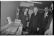 Official Opening of I.C.T.House..1963..01.10.1963..10.01.1963..1st October 1963..Dr James Ryan TD, Minister for Finance,officially opened I.C.T. House ,Adelaide Road, Dublin, for international Computers and Tabulators Ltd. The company had staff working in several sites around the city and the new premises will bring all of them together under the one roof...Management are pictured viewing some of the new equipment at the opening of ICT House.