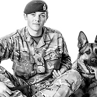 James Hanford, Army - Royal Army Veterinary Private, Dog Handler, Lali is a Protection Dog,  Veterans Portrait Project UK Sennelager Germany