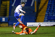 AFC Wimbledon goalkeeper George Long (1), on loan from Sheffield United, in the oppositions penalty area in the last minute during the EFL Sky Bet League 1 match between Bury and AFC Wimbledon at the JD Stadium, Bury, England on 6 February 2018. Picture by Simon Davies.