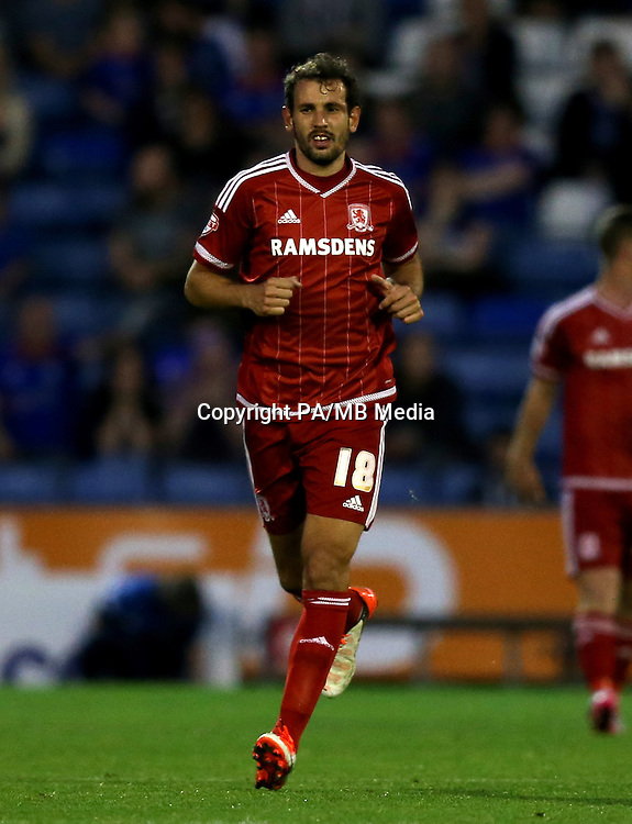 "Middlesbrough's Christian Stuani during the Capital One Cup, First Round match at Boundary Park, Oldham. PRESS ASSOCIATION Photo. Picture date: Wednesday August 12, 2015. See PA story SOCCER Oldham. Photo credit should read: Simon Cooper/PA Wire. EDITORIAL USE ONLY. No use with unauthorised audio, video, data, fixture lists, club/league logos or ""live"" services. Online in-match use limited to 45 images, no video emulation. No use in betting, games or single club/league/player publications."