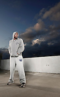 "MMA fighter Phil ""Mr. Wonderful"" Davis poses for action portrait photo shoot in San Diego, CA in December 2012"