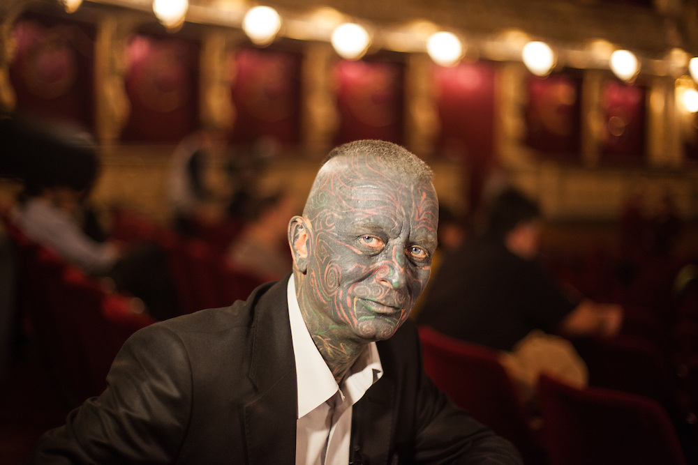 "Portrait of Prof. Vladimír Franz at the Prague National Opera during the final rehearsal of his new opera ""War with the Newts"" (by Karel Capek). Franz is a prominent Czech composer and painter, stage music author and also a registered candidate in the 2013 Czech presidential election."