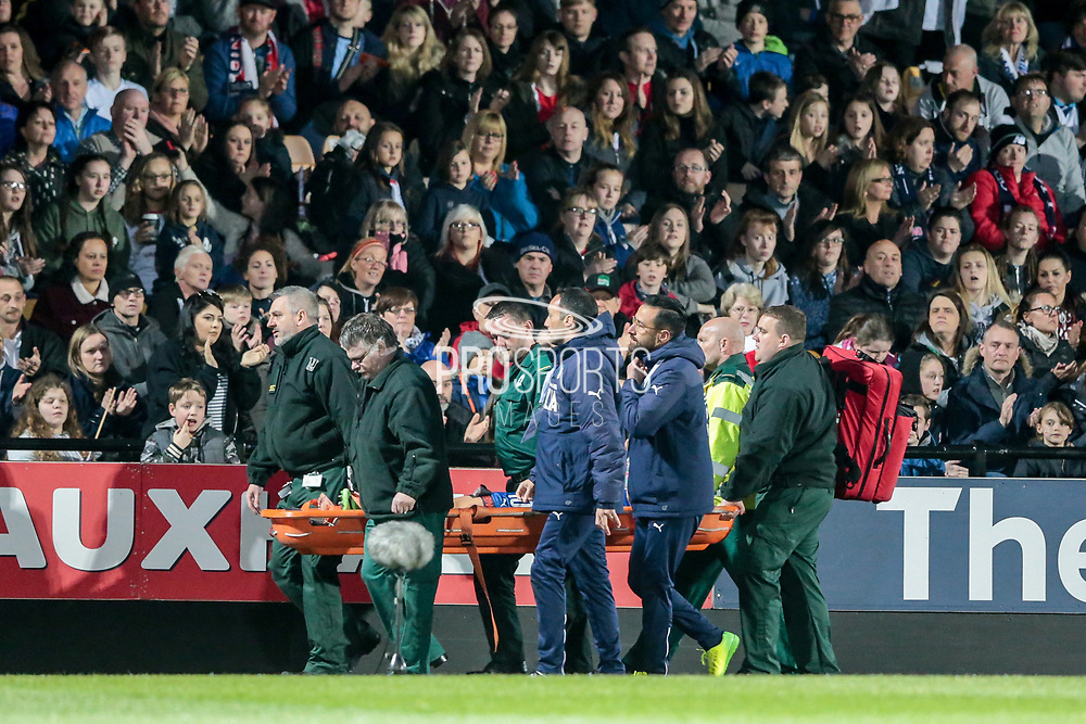 Alice Parisi (Italy) (Darl Fiorentina) is taken off on a stretcher and receives a round of applause from the fans around the ground. She is taken straight out of the ground during the Women's International Friendly match between England Ladies and Italy Women at Vale Park, Burslem, England on 7 April 2017. Photo by Mark P Doherty.