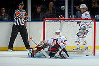 KELOWNA, CANADA - SEPTEMBER 5: Kyle Dumba #45 of the Kamloops Blazers misses a save against the Kelowna Rockets on September 5, 2017 at Prospera Place in Kelowna, British Columbia, Canada.  (Photo by Marissa Baecker/Shoot the Breeze)  *** Local Caption ***
