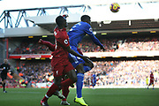 Liverpool striker Sadio Mane (10) and Cardiff City defender Bruno Ecuele Manga (5) during the Premier League match between Liverpool and Cardiff City at Anfield, Liverpool, England on 27 October 2018.