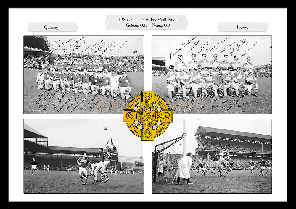 A collage of images from the 1965 All Ireland Football Final between Galway and Kerry, played at Croke Park on 26th September 1965.