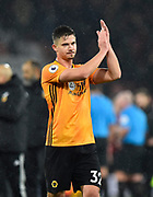 Leander Dendoncker (32) of Wolverhampton Wanderers applauds the travelling fans at full time after a 2-1 win during the Premier League match between Bournemouth and Wolverhampton Wanderers at the Vitality Stadium, Bournemouth, England on 23 November 2019.