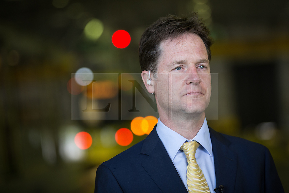 © Licensed to London News Pictures . 07/07/2014 . Manchester , UK . The Deputy Prime Minister , NICK CLEGG MP , launches the British Government's local Growth Deals this morning (7th July 2014) at Metrolink Tram depot in Trafford , Manchester . The Government says that £12 billion will be invested in local business , training and infrastructure projects .  Photo credit : Joel Goodman/LNP