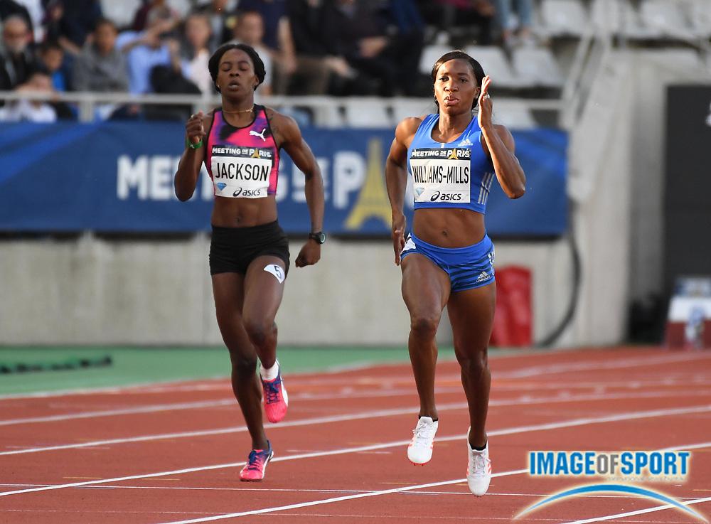 Jul 1, 2017; Paris, France; Novlene Williams-Mills (JAM), right, defeats Shericka Jackson (JAM) to win the women's 400m in 51.03 during the Meeting de Paris in an IAAF Diamond League meet at Stade Charlety.