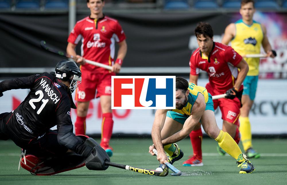 BREDA - Rabobank Hockey Champions Trophy<br /> Australia - Belgium <br /> Photo: Tim Brand shoots at goal.<br /> COPYRIGHT WORLDSPORTPICS FRANK UIJLENBROEK