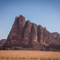 Seven Pillars of Wisdom is a rock formation in Wadi Rum, Jordan.  The rock formation was named after T.E. Lawrence's book about his experience in his World War I campaign with the Arabs.
