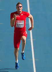 Roland Schwarzl of Austria competes in heat 1 during the men's decathlon 100m at the 2010 European Athletics Championships at the Olympic Stadium in Barcelona on July 28, 2010. (Photo by Vid Ponikvar / Sportida)