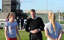 Bristol Academy manager Willie Kirk briefs a couple of his younger players ahead of their cup match against Oxford United Women - Mandatory by-line: Paul Knight/JMP - Mobile: 07966 386802 - 27/08/2015 -  FOOTBALL - Stoke Gifford Stadium - Bristol, England -  Bristol Academy Women v Oxford United Women - FA WSL Continental Tyres Cup