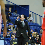 Maine Red Claws Head Coach Scott Morrison issues instructions to his defenders in the first half of a NBA D-league regular season basketball game between the Delaware 87ers and the Maine Red Claws (Boston Celtics) Friday, Dec. 12, 2014 at The Bob Carpenter Sports Convocation Center in Newark, DEL