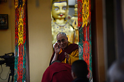The Tibetan spiritual leader, the Dalai Lama, arrives to give teachings on Buddhist philosophy at Tsugla Khang temple in McLeod Ganj, India. Monday, 11th November 2013. Picture by Lightroom Photos / i-Images