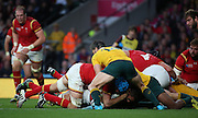 Wales almost scoring a try during the Rugby World CupPool A match between Australia and Wales at Twickenham, Richmond, United Kingdom on 10 October 2015. Photo by Matthew Redman.