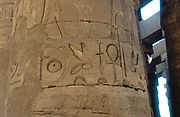 Ankh, Ancient Egyptian symbol of life, and Bee carved on column at Temple of Karnak