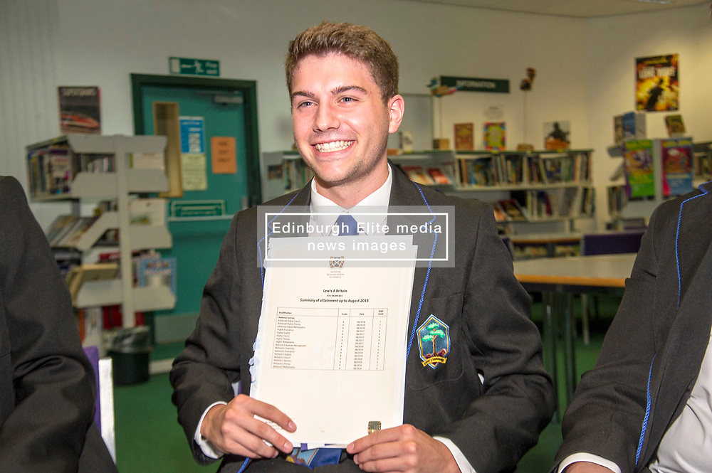 Pictured: hard to cmplain aboit Lewis Britain being so pleased.<br /> <br /> Education Secretary  John Swinney visited Firrhill School today and met students and parents as the results wer available for opening.<br /> <br /> <br /> Ger Harley   EEm 7 August 2018
