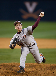 Virginia Tech pitcher Justin Wright (24).  The #15 ranked Virginia Cavaliers baseball team defeated the Virginia Tech Hokies 10-1 at the University of Virginia's Davenport Field in Charlottesville, VA on March 28, 2008.