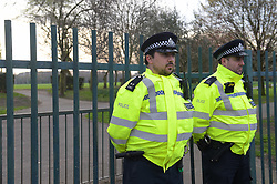 © Licensed to London News Pictures, 06/04/2018 Police seal off Little Ilford park in Newham after a 13 year old was stabbed near the play area. He was rushed to hospital where his condition is described as serious but stable, three juveniles are being questioned by police over the incident; Photo credit: Steve Poston/LNP