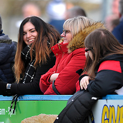 TELFORD COPYRIGHT MIKE SHERIDAN AFC Telford fans  during the Vanarama Conference North fixture between Guiseley and AFC Telford United at Nethermoor Park on Saturday, February 8, 2020.<br /> <br /> Picture credit: Mike Sheridan/Ultrapress<br /> <br /> MS201920-046