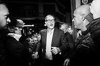 BELPASSO, ITALY - 28 OCTOBER 2017: Nello Musumeci, the center-right candidate running for governor of Sicily in the upcoming Sicilan regional election, greets his supporters during a rally in Belpasso, Italy, on October 28th 2017.<br /> <br /> The Sicilian regional election for the renewal of the Sicilian Regional Assembly and the election of the President of Sicily will be held on 5th November 2017.