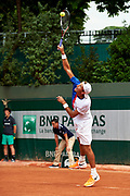 Paris, France - 2017 June 02: Lukasz Kubot from Poland serves while his men's double match second round during tennis Grand Slam tournament The French Open 2017 (also called Roland Garros) at Stade Roland Garros on June 02, 2017 in Paris, France.<br /> <br /> Mandatory credit:<br /> Photo by &copy; Adam Nurkiewicz<br /> <br /> Adam Nurkiewicz declares that he has no rights to the image of people at the photographs of his authorship.<br /> <br /> Picture also available in RAW (NEF) or TIFF format on special request.<br /> <br /> Any editorial, commercial or promotional use requires written permission from the author of image.