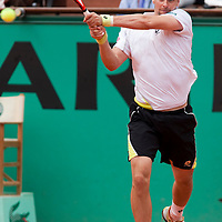 31 May 2009: Robin Soderling of Sweden hits a backhand during the men's Singles fourth round match on day eight of the French Open at Roland Garros in Paris, France.
