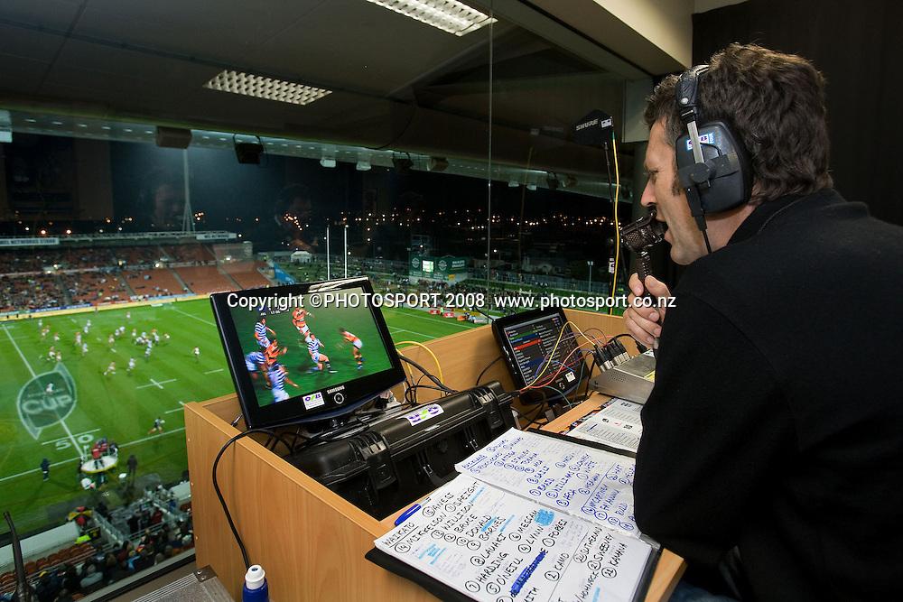 Sky TV commentator Tony Johnson. Air NZ Cup, Waikato v Auckland, Waikato Stadium, Hamilton, Saturday 30 August 2008. Waikato won 34-13. Photo: Stephen Barker/PHOTOSPORT