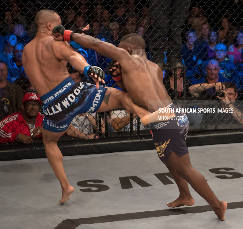 DURBAN, SOUTH AFRICA - JUNE 10: (R) punches during the EFC 60 Fight Night at Sibaya Casino on June 10, 2017 in Durban, South Africa. (Photo by Anton Geyser/EFC Worldwide/Gallo Images)