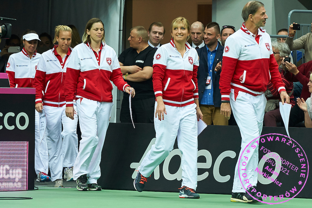(L-R) Martina Hingis and Viktorija Golubic and Romina Oprandi and Timea Bacsinszky and Heinz Guenthardt - captain national team all from Switzerland while opening ceremony during the Fed Cup / World Group Play Off tennis match between Poland and Switzerland on April 18, 2015 in Zielona Gora, Poland<br /> Poland, Zielona Gora, April 18, 2015<br /> <br /> Picture also available in RAW (NEF) or TIFF format on special request.<br /> <br /> For editorial use only. Any commercial or promotional use requires permission.<br /> <br /> Adam Nurkiewicz declares that he has no rights to the image of people at the photographs of his authorship.<br /> <br /> Mandatory credit:<br /> Photo by &copy; Adam Nurkiewicz / Mediasport