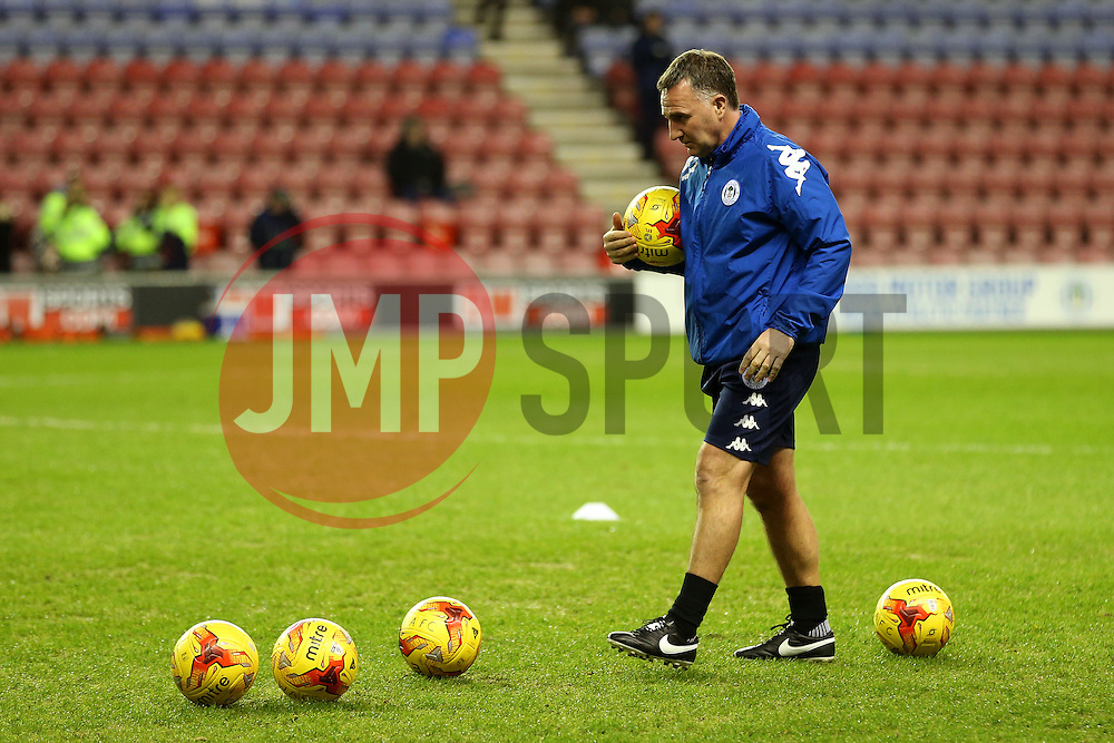 Wigan Athletic manager Warren Joyce prepares a warm up drill - Mandatory by-line: Matt McNulty/JMP - 07/02/2017 - FOOTBALL - DW Stadium - Wigan, England - Wigan Athletic v Norwich City - Sky Bet Championship