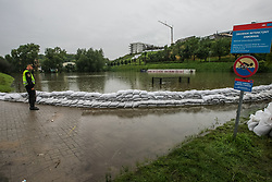 July 27, 2017 - Gdansk, Poland - People watching at the emergency reservoir in Zabornia district are seen in Gdansk, Poland on 27 July 2017 Due the strong raining for more than two days all emergency reservoirs are full of wather and there is a risk of interruption of flood protection. (Credit Image: © Michal Fludra/NurPhoto via ZUMA Press)