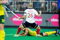 ANTWERP -    Nick Catlin scored  for GB  and celebrates during  the  semifinal hockeymatch   Australia vs Great Britain (3-1) . Under  Kiel Brown of Australia. .   WSP COPYRIGHT KOEN SUYK