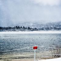 Dramatic image of storm in Big Bear Lake in California.