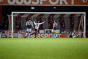 Brentford midfielder Florian Josefzoon (7) celebrating Brentford goal during the EFL Sky Bet Championship match between Brentford and Aston Villa at Griffin Park, London, England on 31 January 2017. Photo by Matthew Redman.